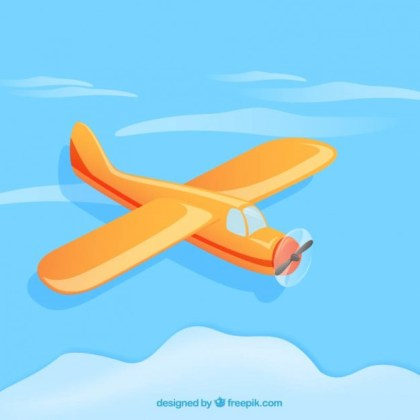 Airplane in Cartoon Style Free Vector