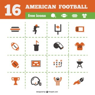 American Football Icons Collection Free Vector
