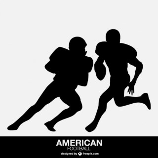 American Football Player Isolated Silhouettes Free Vector