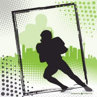 American Football Player Silhouette Background Free Vector