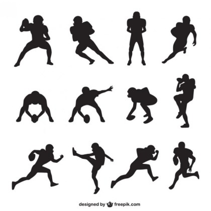 American Football Player Silhouettes Collection Free Vector