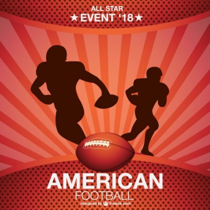 American Football Players Running Background Free Vector