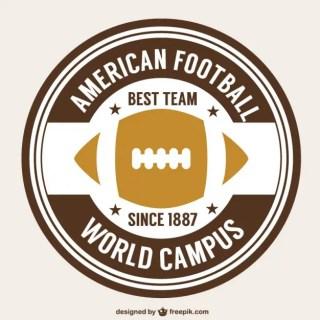 American Football Retro Ball Badge Free Vector