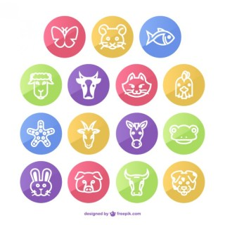 Animals Round Icons Pack Free Vector