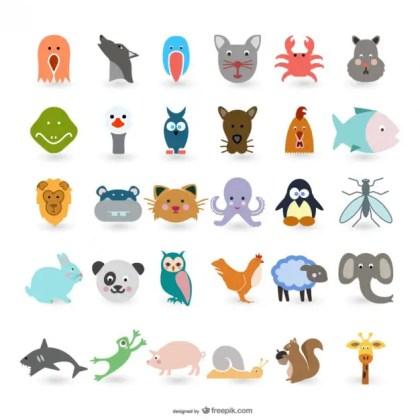 Animals with Big Head Free Vector