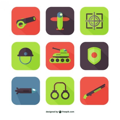 Army and Weapons Icons Free Vector