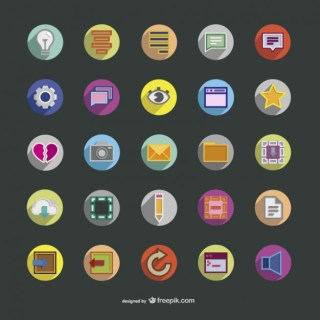 Assorted Colorful Round Icons Free Vector