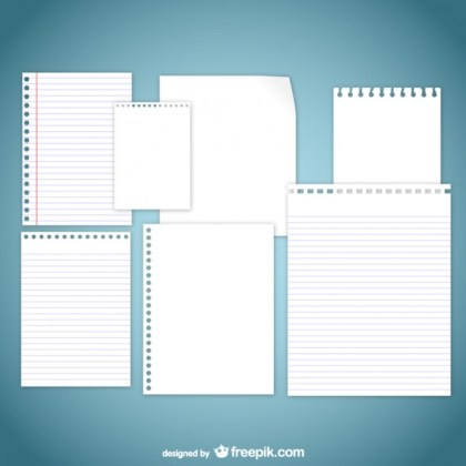 Assorted Paper Pages Pack Free Vector
