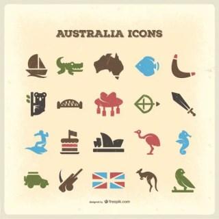 Australia Vintage Icons Free Vector