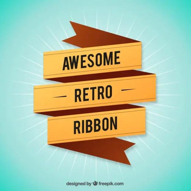 Awesome Retro Ribbon Free Vector