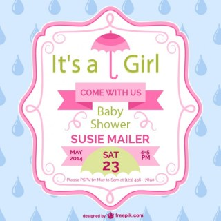 Baby Shower Girl Card Template Design Free Vector