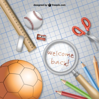 Back to School with School Materials Free Vector