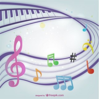 Background with Colorful Music Notes Free Vector