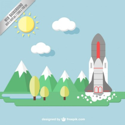 Background with Space Shuttle Free Vector