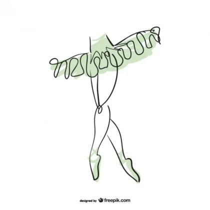 Ballerina Line Art Design Free Vector