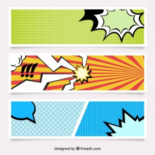 Banners in Comic Style Free Vector
