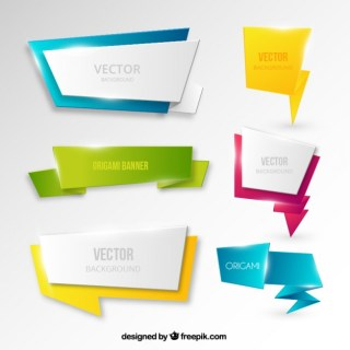 Banners in Origami Style Free Vector