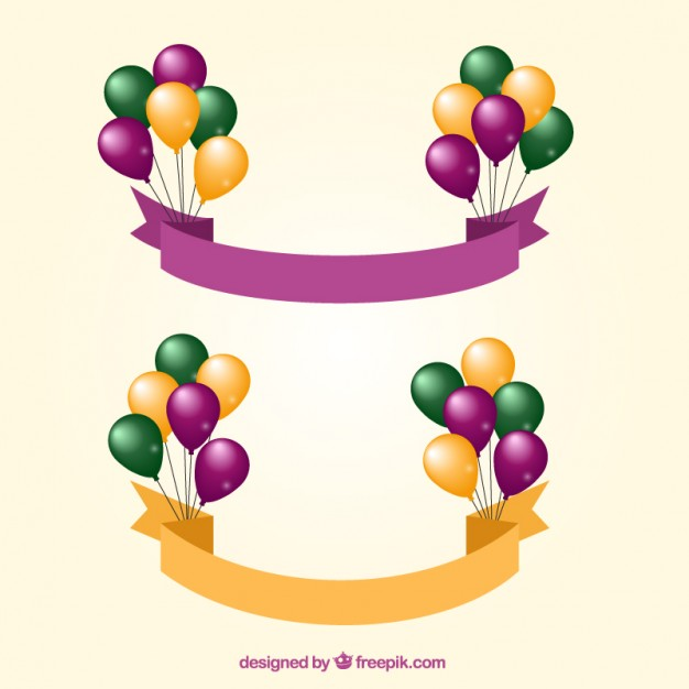 Banners with Balloons Free Vector