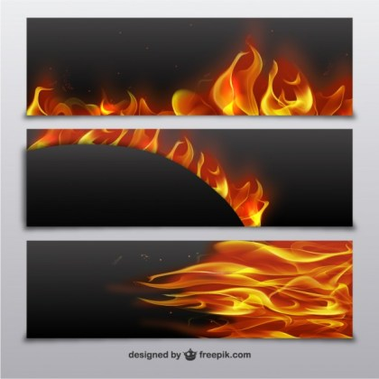 Banners with Fire Flames Free Vector