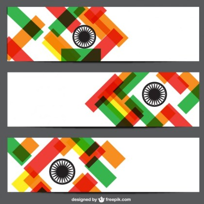 Banners with Indian Flag Colors Free Vector