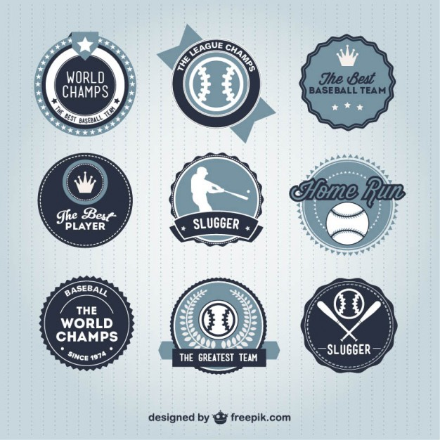 Baseball Badges Retro Collection Free Vector