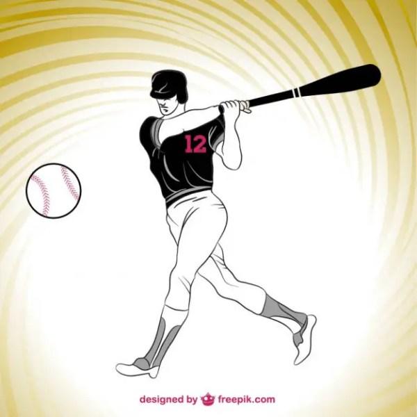 Baseball Player Silhouette Free Vector