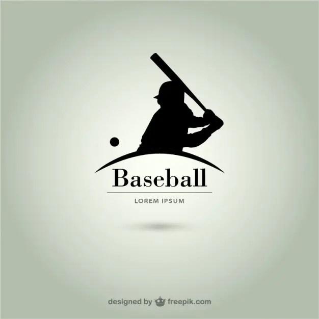 Baseball Player Silhouette Logo Free Vector