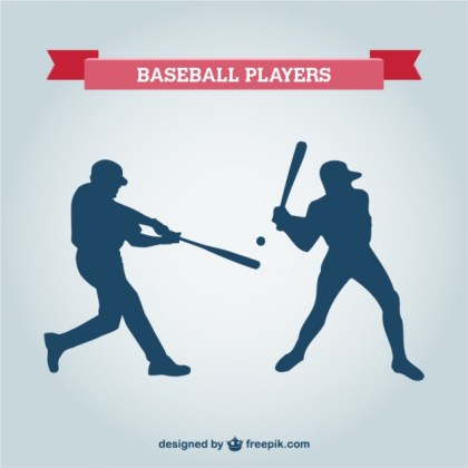 Baseball Player Silhouettes Free Vector
