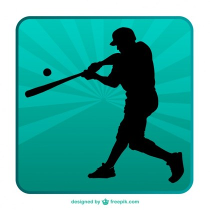 Baseball Silhouette Background Free Vector