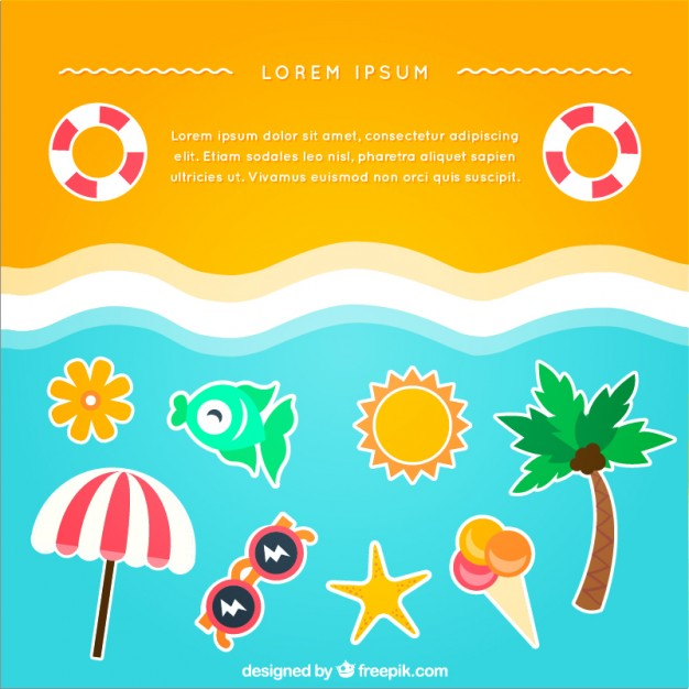 Beach Background with Summer Icons Free Vector