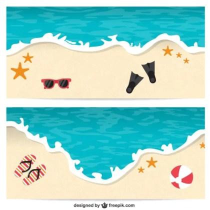 Beach Banners Free Vector