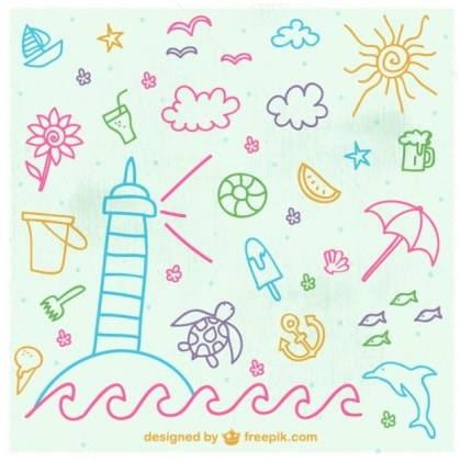 Beach Holiday Hand Drawn Elements Free Vector