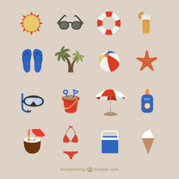 Beach Icons for Summertime Free Vector
