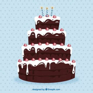 Big Chocolate Birthday Cake Free Vector