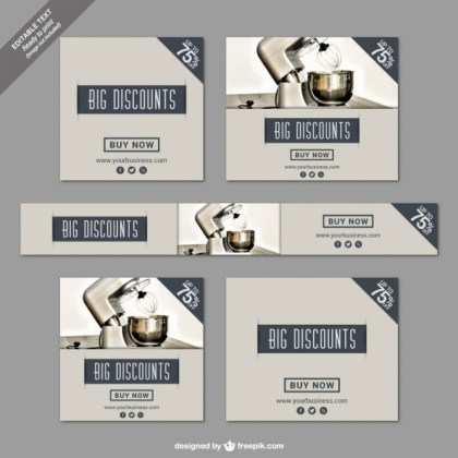 Big Discounts Banners for Kitchen Tools Free Vector
