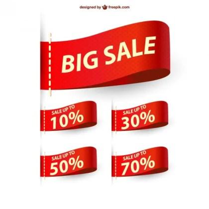 Big Sale Ribbons Sale Free Vector