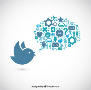 Bird and Speech Bubble Full of Icons Free Vector