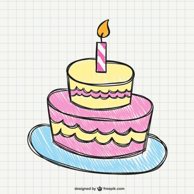 Birthday Cake Drawing Free Vector