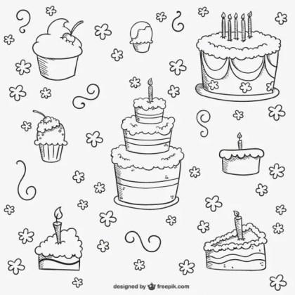 Birthday Cakes Doodles Free Vector