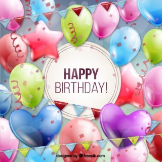 Birthday Card Full of Balloons Free Vector