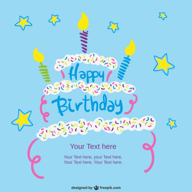 Birthday Card Template With Cake Free Vector 123freevectors