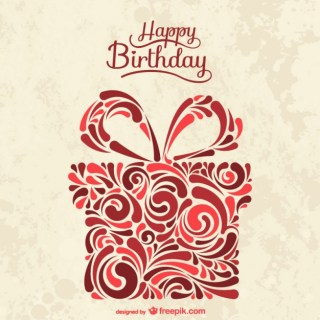 Birthday Card with Abstract Present Box Free Vector