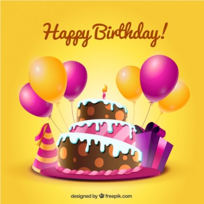 Birthday Card with Cake and Balloons in Cartoon Style Free Vector