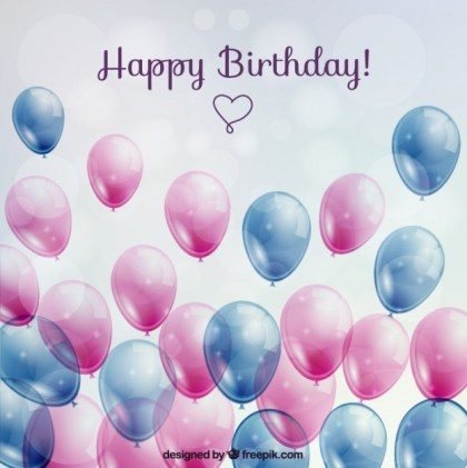Birthday Card with Glossy Balloons Free Vector