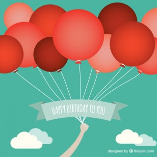 Birthday Card with Red Balloons Free Vector
