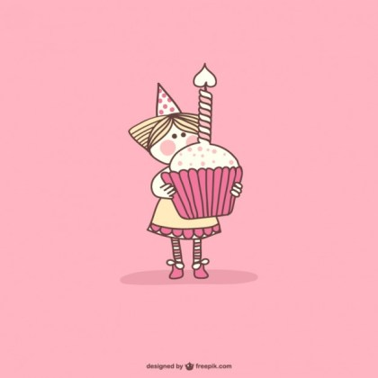 Birthday Cupcake Cartoon Free Vector