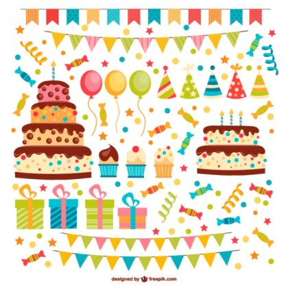 Birthday Elements Pack Free Vector