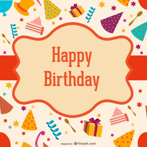 Birthday Label Over Hats and Boxes Free Vector