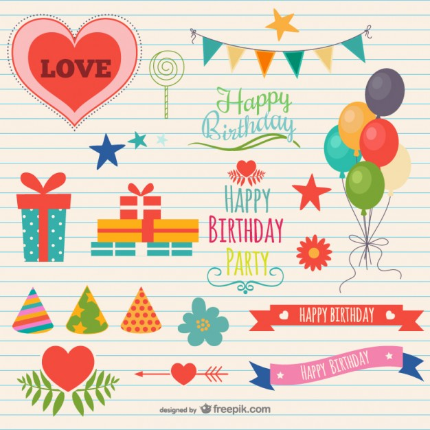 Birthday Party Decorations Free Vector