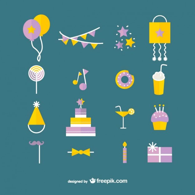 Birthday Party Icons Collection Free Vector